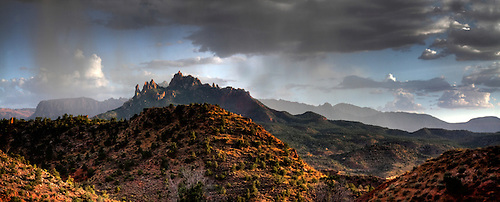 Panorama of Eagle Crags during an afternoon thunderstorm just outside of Zion National Park in Southern Utah