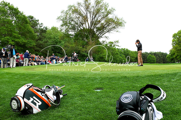 PGA golfer Phil Mickelson at the 2013 Wells Fargo Championship, a PGA championship event held annually in Charlotte NC. The event previously was called The Wachovia Golf Championship. The event is held at the Quail Hollow Club in Charlotte, North Carolina in early May. Since its inception in 2003, the PGA golf championship event has attracted some of the top players on the tour. In 2009, the tournament had a $6.5 million purse with a winner's prize of $1.17 million. The event is often ranked among the PGA Tour's toughest holes. The majority of the charitable proceeds from the tournament benefit Teach for America.
