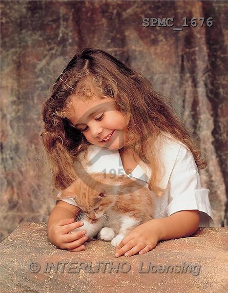 Enrique, CHILDREN, photos, girl, cat(SPMC1676,#K#) Kinder, niños