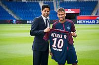 Neymar Jr (PSG)<br /> Nasser Al Khelaifi - president du PSG<br /> 04-08-2017 <br /> Parigi Presentazione nuovo acquisto Neymar <br /> Calcio Ligue 1 2017/2018 <br /> Foto JB Autissier/ Panoramic/Insidefoto