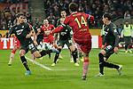 08.11.2019, RheinEnergieStadion, Koeln, GER, 1. FBL, 1.FC Koeln vs. TSG 1899 Hoffenheim,<br />  <br /> DFL regulations prohibit any use of photographs as image sequences and/or quasi-video<br /> <br /> im Bild / picture shows: <br /> Jonas Hector (FC Koeln #14),  versucht den Ball in den Strafraum zu passen.. an Robert Skov (Hoffenheim #29), vorbei<br /> <br /> Foto © nordphoto / Meuter