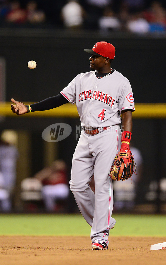 Aug. 28, 2012; Phoenix, AZ, USA: Cincinnati Reds infielder Brandon Phillips against the Arizona Diamondbacks at Chase Field. Mandatory Credit: Mark J. Rebilas-