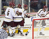 Patrick Wey (BC - 6), Brendan Silk (BC - 9), Bill Arnold (BC - 24), Kevin Hayes (BC - 12) - The Boston College Eagles defeated the visiting Boston University Terriers 5-2 on Saturday, December 1, 2012, at Kelley Rink in Conte Forum in Chestnut Hill, Massachusetts.
