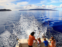 Fishing near Molokini crater and Kaho'olawe island off the coast of Maui,Hawaii.