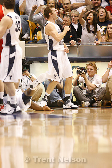 Trent Nelson  |  The Salt Lake Tribune.BYU's Jackson Emery celebrates in the second half at BYU vs. Utah, college basketball in Provo, Utah, Saturday, February 12, 2011. BYU won 72-59. andrew van wagenen
