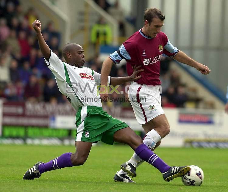 Pix: Ben Duffy....Burnley v Walsall-Nationwide First Division Football....15/09/2001..COPYWRIGHT PICTURE>>SIMON WILKINSON>>01943 436649>>..Burnley's Glen Little cannot  escape Walsall's Fitzroy Simpson.