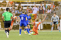 Houston, TX - Sunday Sept. 25, 2016: Kim Little, Manon Melis, Morgan Brian during a regular season National Women's Soccer League (NWSL) match between the Houston Dash and the Seattle Reign FC at BBVA Compass Stadium.