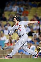 Matt Holliday #7 of the St.Louis Cardinals bats against the Los Angeles Dodgers at Dodger Stadium on September 13, 2012 in Los Angeles, California. St.Louis defeated Los Angeles 2-1. (Larry Goren/Four Seam Images)