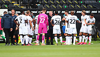 5th July 2020; Liberty Stadium, Swansea, Glamorgan, Wales; English Football League Championship, Swansea City versus Sheffield Wednesday; Steve Cooper, Manager of Swansea City gives instructions as Swansea City group during a drinks break in the first half
