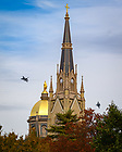 November 1, 2019; Two United States Air Force F-16 aircraft practice over campus the day before a football game flyover. (Photo by Matt Cashore/University of Notre Dame)