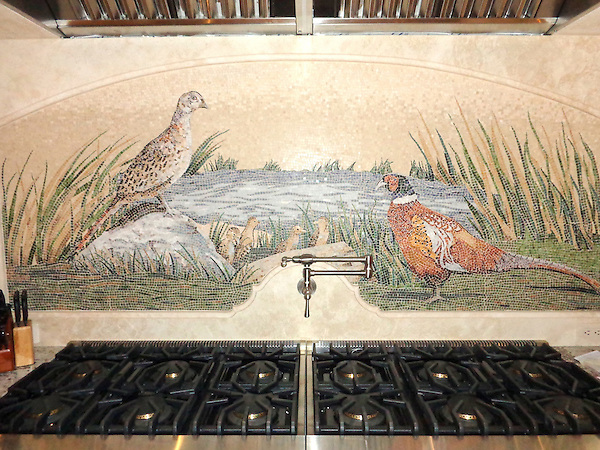 Custom Pheasant shown in stone, hand cut tesserae polished and honed.