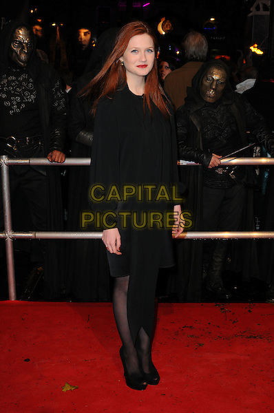 "BONNIE WRIGHT .""Harry Potter And The Deathly Hallows: Part 1"" World Film Premiere, Empire cinema Leicester Square and Odeon Leicester Square, London, England, UK, 11th November 2010. .full length black long sleeve top blouse skirt tights peep toe platform shoes scarf dress .CAP/CAS.©Bob Cass/Capital Pictures."