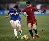 Calcio, Serie A: AS Roma - Sampdoria, Roma, stadio Olimpico, 28 gennaio 2018. <br /> Roma's Cengiz Under (r) in action with Sampdoria's Bartosz Bereszynski (l) during the Italian Serie A football match between AS Roma and Sampdoria at Rome's Olympic stadium, January 28, 2018.<br /> UPDATE IMAGES PRESS/Isabella Bonotto