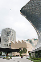 Jumex (architect David Chipperfield) and Soumaya Museum (Architect Fernando Romero), at the Plaza Carso, in Mexico City.