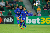 26th March 2018, nib Stadium, Perth, Australia; Womens International football friendly, Australia Women versus Thailand Women; Silawan Intamee of Thailand plays a long ball out of Thailands half during the second half