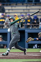 Michigan State Spartans outfielder Dan Chmielewski (21) follows through on his swing in the NCAA baseball game against the Michigan Wolverines on May 7, 2019 at Ray Fisher Stadium in Ann Arbor, Michigan. Michigan defeated Michigan State 7-0. (Andrew Woolley/Four Seam Images)