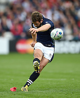 Greig Laidlaw of Scotland kicks for the posts. Rugby World Cup Pool B match between Scotland and Japan on September 23, 2015 at Kingsholm Stadium in Gloucester, England. Photo by: Patrick Khachfe / Onside Images