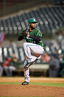 Daytona Tortugas relief pitcher Sandy Lugo (45) delivers a pitch during a game against the Florida Fire Frogs on April 6, 2017 at Osceola County Stadium in Kissimmee, Florida.  Daytona defeated Florida 3-1.  (Mike Janes/Four Seam Images)
