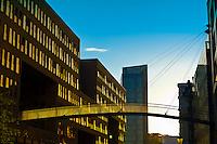 Street scene in Hafen City (the harbor along the Elbe RIver), Hamburg, Germany