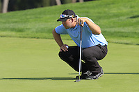Justin Walters (RSA) on the 14th green during Thursday's Round 1 of the 2016 Portugal Masters held at the Oceanico Victoria Golf Course, Vilamoura, Algarve, Portugal. 19th October 2016.<br /> Picture: Eoin Clarke   Golffile<br /> <br /> <br /> All photos usage must carry mandatory copyright credit (© Golffile   Eoin Clarke)
