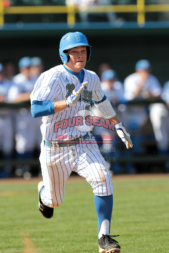 Pat Valaika #10 of the UCLA Bruins runs to first base during a game against the Maryland Terrapins at Jackie Robinson Stadium on February 19, 2012 in Los Angeles,California. Maryland defeated UCLA 5-1.(Larry Goren/Four Seam Images)