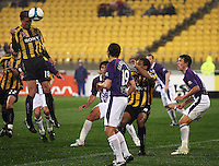 Phoenix' Ben Sigmund rises to head a shot at goal from a corner during the A-League football match between Wellington Phoenix and Perth Glory at Westpac Stadium, Wellington, New Zealand on Sunday, 16 August 2009. Photo: Dave Lintott / lintottphoto.co.nz