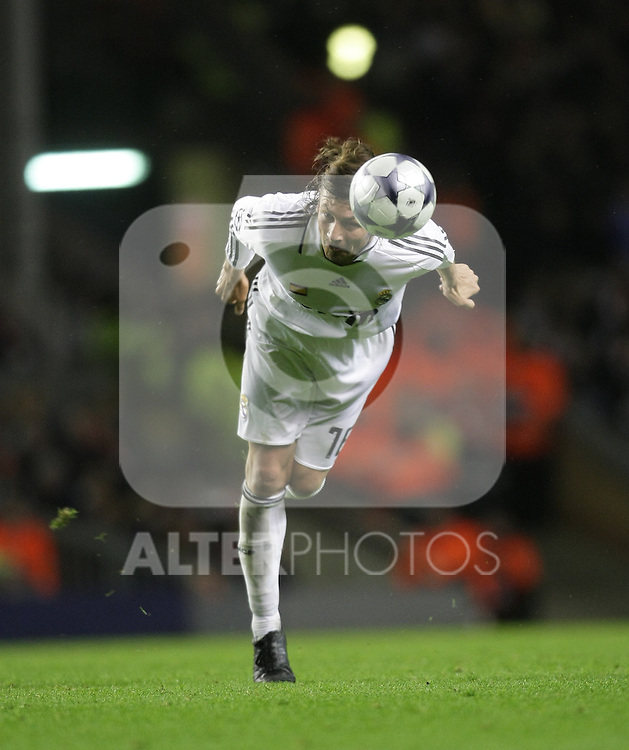 Gabriel Heinze heads the ball during the Champions League Round of 16, Second Leg match between Liverpool and Real Madrid at Anfield on March 10, 2009 in Liverpool, England