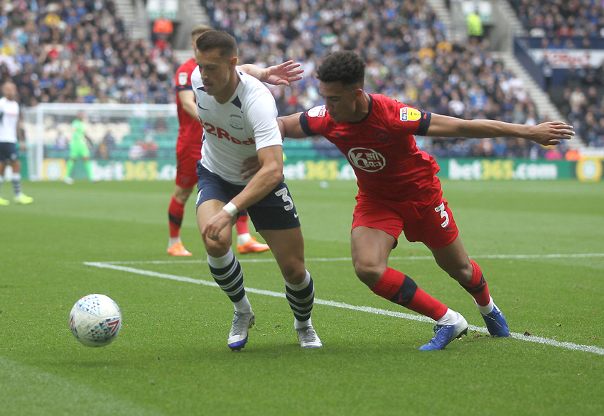 Preston North End's Billy Bodin battles with  Wigan Athletic's Antonee Robinson <br /> <br /> Photographer Mick Walker/CameraSport<br /> <br /> The EFL Sky Bet Championship - Preston North End v Wigan Athletic - Saturday 10th August 2019 - Deepdale Stadium - Preston<br /> <br /> World Copyright © 2019 CameraSport. All rights reserved. 43 Linden Ave. Countesthorpe. Leicester. England. LE8 5PG - Tel: +44 (0) 116 277 4147 - admin@camerasport.com - www.camerasport.com