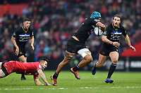 Zach Mercer of Bath Rugby gets past Zack Holmes of Toulouse. Heineken Champions Cup match, between Stade Toulousain and Bath Rugby on January 20, 2019 at the Stade Ernest Wallon in Toulouse, France. Photo by: Patrick Khachfe / Onside Images