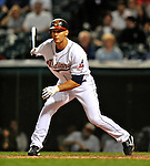 13 September 2008: Cleveland Indians' outfielder Grady Sizemore at bat in the third inning against the Kansas City Royals at Progressive Field in Cleveland, Ohio. The Royals defeated the Indians 8-4 in the second game, sweeping their double-header...Mandatory Photo Credit: Ed Wolfstein Photo