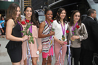 NEW YORK,NY - August 14, 2012: Aly Raisman, McKayla Maroney, Gabby Douglas, Kyla Ross, and Jordyn Weiber of the U.S. Women's Gymnastics Olympic Gold Medal Team at Late Show With David Letterman in New York City. &copy; RW/MediaPunch Inc. /NortePhoto.com<br />