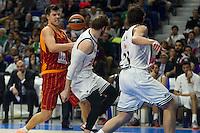 Real Madrid´s Sergio Llull and Andres Nocioni and Galatasaray´s Erceg during 2014-15 Euroleague Basketball match between Real Madrid and Galatasaray at Palacio de los Deportes stadium in Madrid, Spain. January 08, 2015. (ALTERPHOTOS/Luis Fernandez) /NortePhoto /NortePhoto.com