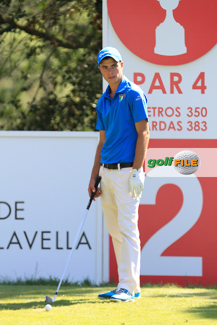 Guido Migloiozzi (ITA) on the 2nd during Thursday's Round 1 of The Open De Espana at The PGA Catalunya Resort. 15th May 2014.<br /> Picture:  Thos Caffrey / www.golffile.ie