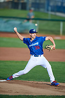 Ogden Raptors starting pitcher Brett de Geus (36) delivers a pitch during a game against the Idaho Falls Chukars at Lindquist Field on August 29, 2018 in Ogden, Utah. Idaho Falls defeated Ogden 15-6. (Stephen Smith/Four Seam Images)