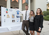 From left, Occidental College student Daniel Stigall '16 stands with Amanda Mejia, East Area Representative, Office of Los Angeles Mayor Eric Garcetti and Paola Fernandez, Department Coordinator, Office of Mayor Eric Garcetti during the Career Development Center's Reverse Career Fair, Thorne Hall patio, Sept. 3, 2015. Daniel worked at the Office of Los Angeles Mayor Eric Garcetti as part of InternLA.<br /> (Photo by Marc Campos, Occidental College Photographer)