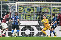 9th February 2020, Milan, Italy; Serie A football, AC Milan versus Inter-Milan; Zlatan Ibrahimovic  shoots and scores for 0-2 in the 45th minute