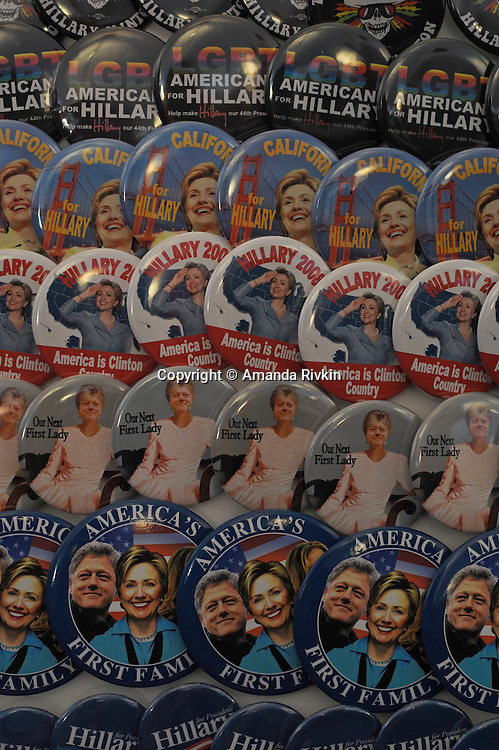 Hillary Clinton pins on sale at an exhibit on the American presidential experience at Invesco Field in Denver, Colorado on August 22, 2008.   The Democratic National Convention officially kicks off Monday August 25, 2008 at the nearby Pepsi Center.
