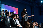 """Sol Sanchez in the act of beginning of the campaign """"Unidas Podemos"""" in Madrid. The spokesman of this party in Congress, Irene Montero, and the federal coordinator of IU, Alberto Garzón, intervene in it.<br /> October 31, 2019. <br /> (ALTERPHOTOS/David Jar)"""