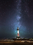 Pigeon Point Lighthouse near Half Moon Bay at sunset with the milky way in October.