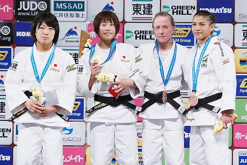 (L-R) Haruna Asami, Ami Kondo (JPN), Sarah Menenes (BRA), Nataliya Kondratyeva (RUS),  DECEMBER 4, 2015 - Judo : IJF Grand Slam Tokyo 2015 International Judo Tournament Women's -48kg Award Ceremony at Tokyo Metropolitan Gymnasium, Tokyo, Japan. (Photo by Sho Tamura/AFLO SPORT)