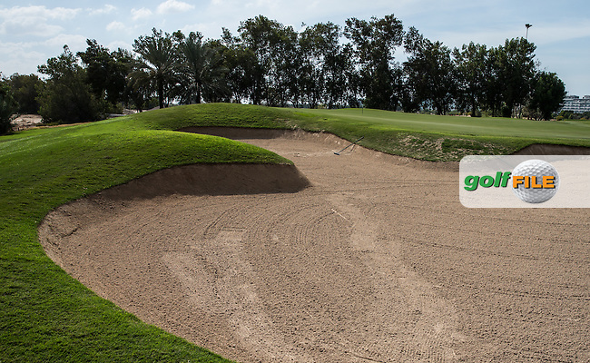 2nd left-side bunker, The Track at The Meydan Golf Club, Dubai, United Arab Emirates.  31/01/2016. Picture: Golffile | David Lloyd<br /> <br /> All photos usage must carry mandatory copyright credit (&copy; Golffile | David Lloyd)
