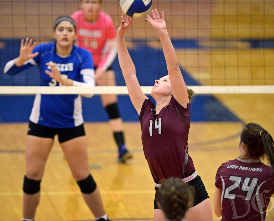 NWA Democrat-Gazette/BEN GOFF @NWABENGOFF<br /> Meg Gray of Siloam Springs sets the ball on Thursday Aug. 27, 2015 during the match at Rogers High.