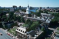 Cambridge, MA, September 1986. Harvard University, established in 1636, is the oldest institution of higher learning in the United States. Harvard's history, influence, and wealth have made it one of the most prestigious universities in the world. Aereal view over the campus.