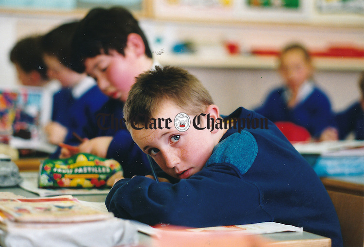 Karl Haugh at work in Scoil Realt na Mara, Kilkee - April 28, 2000. Photograph by Eamon Ward