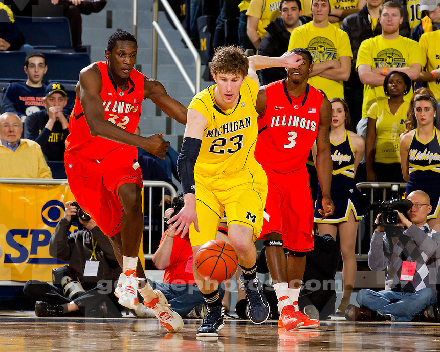 The University of Michigan men's basketball team defeated the University of Illinois, 70-61, at Crisler Center in Ann Arbor, Mich., on February 12, 2012.