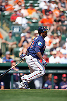 Minnesota Twins right fielder Miguel Sano (22) at bat during a Spring Training game against the Baltimore Orioles on March 7, 2016 at Ed Smith Stadium in Sarasota, Florida.  Minnesota defeated Baltimore 3-0.  (Mike Janes/Four Seam Images)