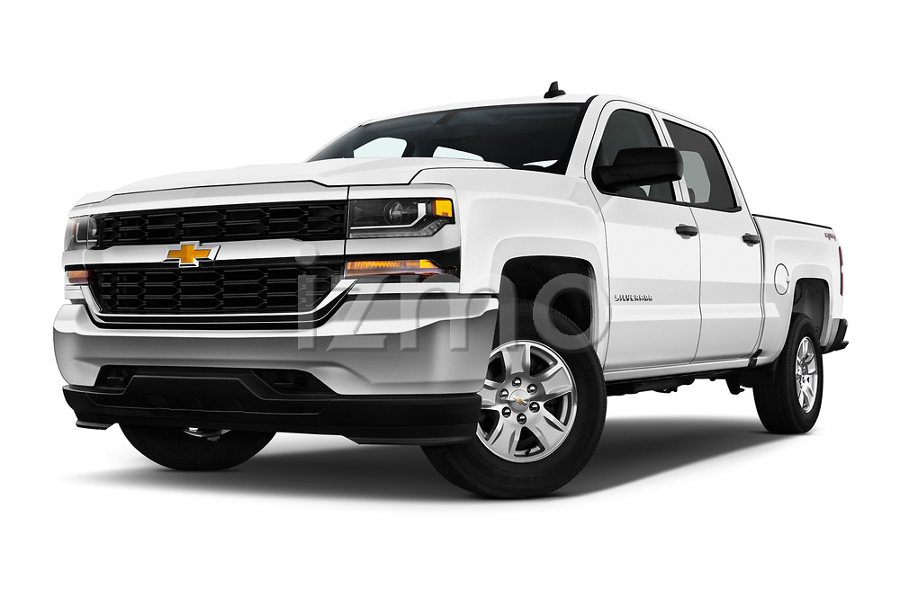 Stock pictures of low aggressive front three quarter view of 2018 Chevrolet Silverado-1500 1LS-Crew-Cab-Short-Box 4 Door Pickup Low Aggressive