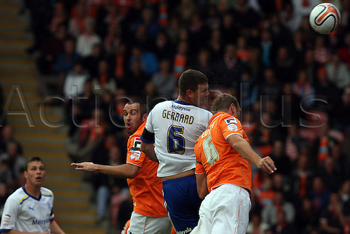 17.09.2011 Championship Football from Bloomfield Road. Blackpool v Cardiff City. Anthony Gerrard heads the ball towards the blackpool net