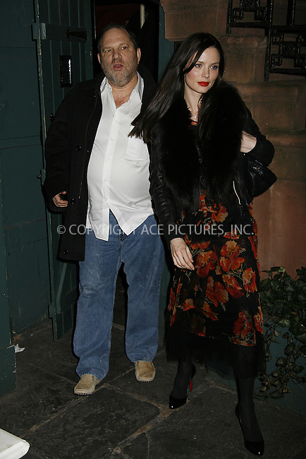 WWW.ACEPIXS.COM . . . . .  ....March 10 2008, New York City....Miramax CEO Harvey Weinstein and wife designer Georgina Chapman leave the Waverly Inn in the west Village area of Manhattan.....Please byline: NANCY RIVERA- ACE PICTURES.... *** ***..Ace Pictures, Inc:  ..tel: (646) 769 0430..e-mail: info@acepixs.com..web: http://www.acepixs.com