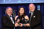 Derry Keeling, UCD Musical Society, Dublin who won Best Actress / Sullivan Section for her performance as Lucille Frank in Parade'' receiving the trophy from on  left, Colm Moules, President, AIMS and Seamus Power, Vice-President at the Association of Irish Musical Societies annual awards in the INEC, KIllarney at the weekend.<br /> Photo: Don MacMonagle -macmonagle.com<br /> <br /> <br /> <br /> repro free photo from AIMS<br /> Further Information:<br /> Kate Furlong AIMS PRO kate.furlong84@gmail.com